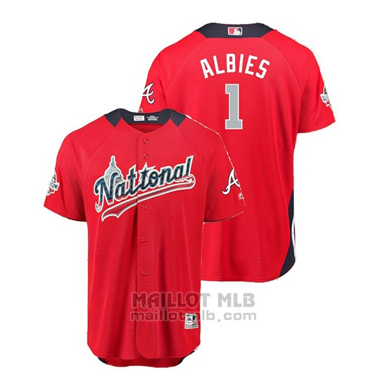 Maillot Baseball Homme All Star Game Atlanta Braves Ozzie Albies 2018 Domicile Run Derby National League Rouge