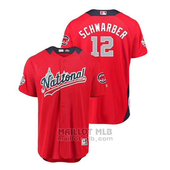 Maillot Baseball Homme All Star Game Chicago Cubs Kyle Schwarber 2018 Domicile Run Derby National League Rouge