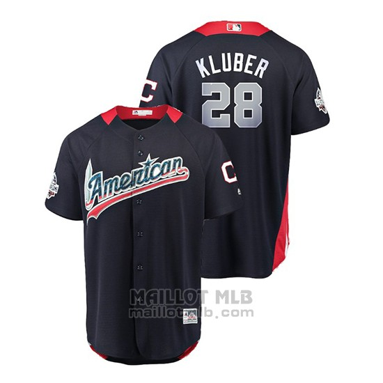Maillot Baseball Homme All Star Game Cleveland Indians Corey Kluber 2018 Domicile Run Derby American League Bleu
