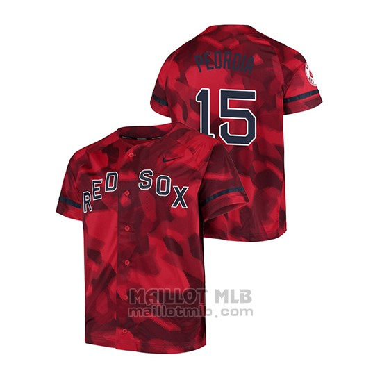 Maillot Baseball Hombre Boston Red Sox Dustin Pedroia Camouflage Authentique Collezione Rouge