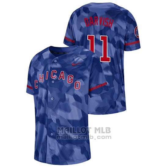 Maillot Baseball Hombre Chicago Cubs Yu Darvish Camouflage Authentique Collezione Bleu