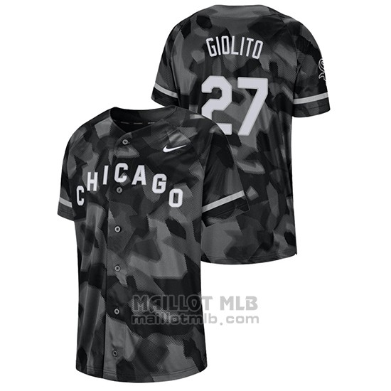 Maillot Baseball Hombre Chicago White Sox Lucas Giolito Camouflage Authentique Collezione Noir