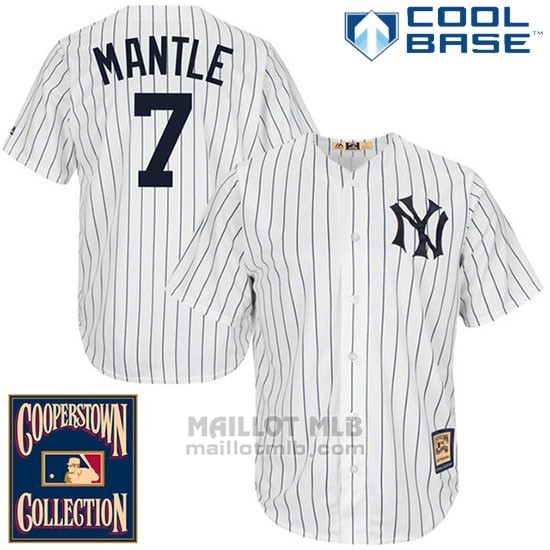 Maillot Baseball Homme New York Yankees New York Mickey Mantle 7 Blanc Cool Base Cooperstown