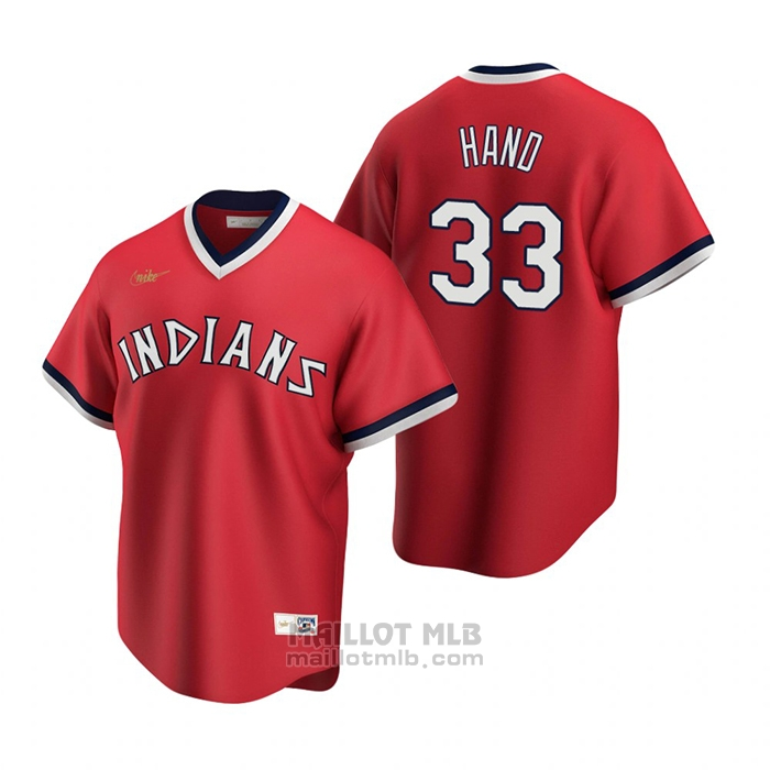 Maillot Baseball Homme Cleveland Indians Brad Hand Cooperstown Collection Road Rouge