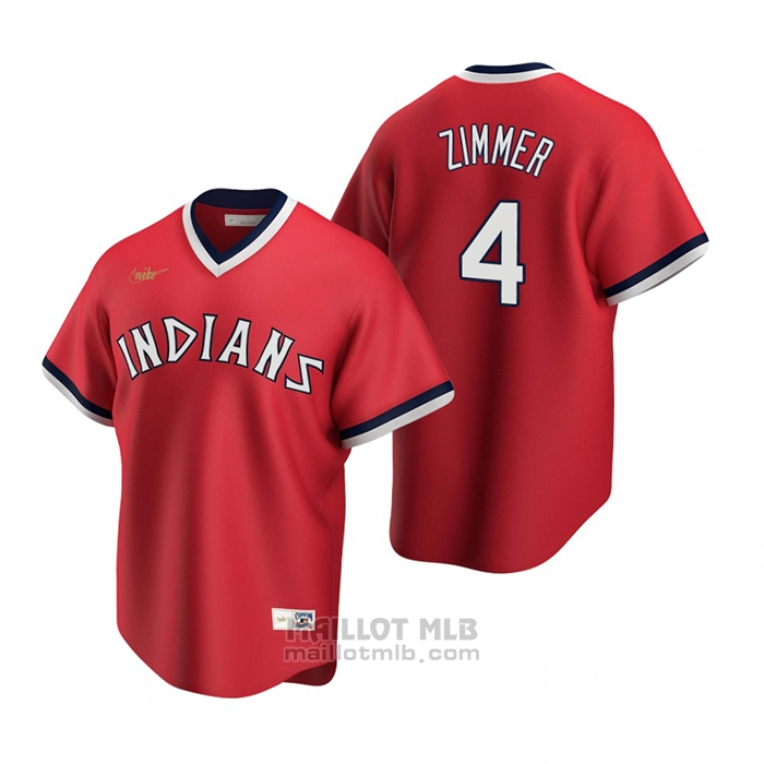 Maillot Baseball Homme Cleveland Indians Bradley Zimmer Cooperstown Collection Road Rouge
