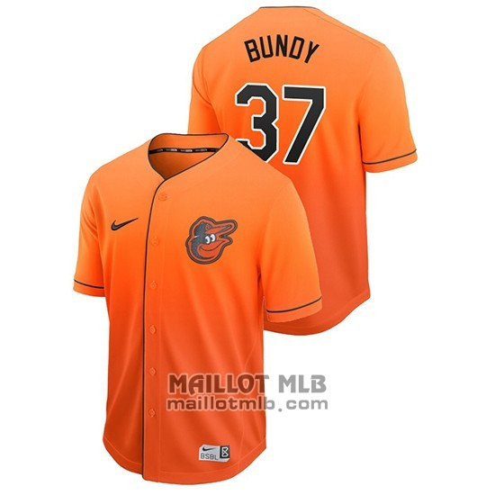 Maillot Baseball Homme Baltimore Orioles Dylan Bundy Fade Authentique Orange