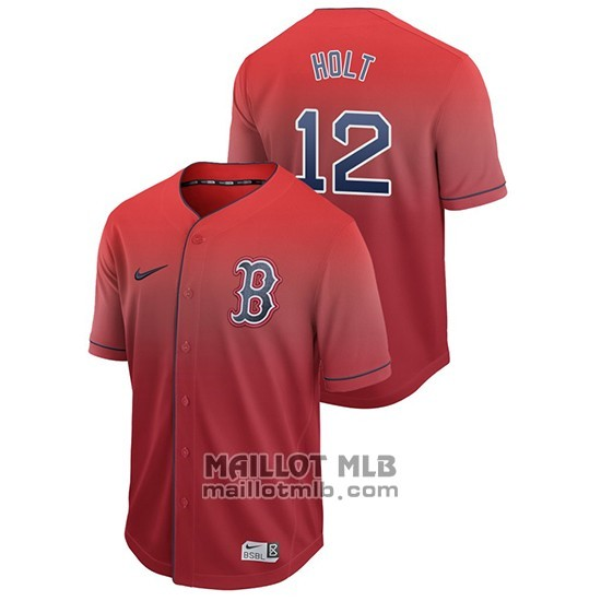 Maillot Baseball Homme Boston Red Sox Brock Holt Fade Authentique Rouge