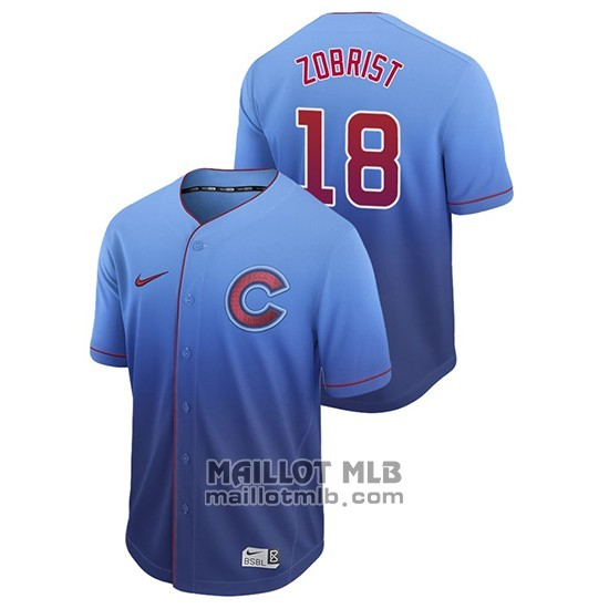 Maillot Baseball Homme Chicago Cubs Ben Zobrist Fade Authentique Bleu