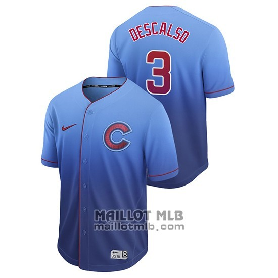 Maillot Baseball Homme Chicago Cubs Daniel Descalso Fade Authentique Bleu