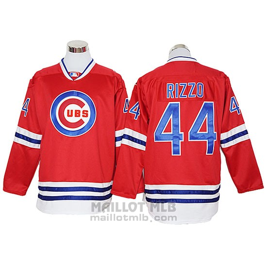 Maillot Baseball Homme Chicago Cubs 44 Anthony Rizzo Authentique Rouge Manches Longues