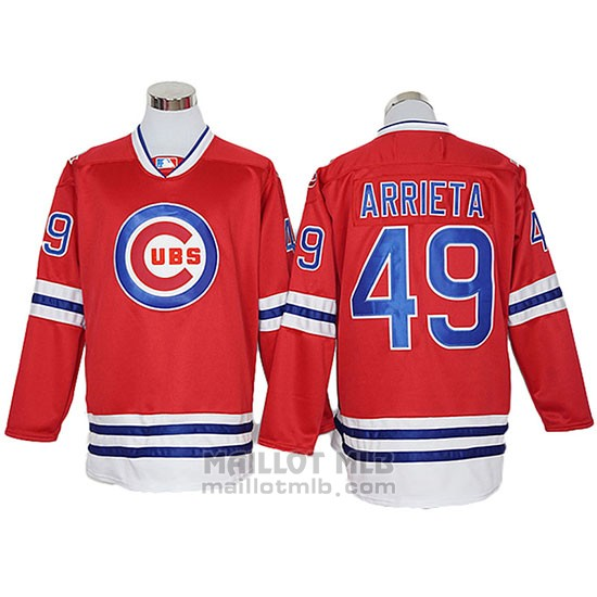 Maillot Baseball Homme Chicago Cubs 49 Jake Arrieta Authentique Rouge Manches Longues