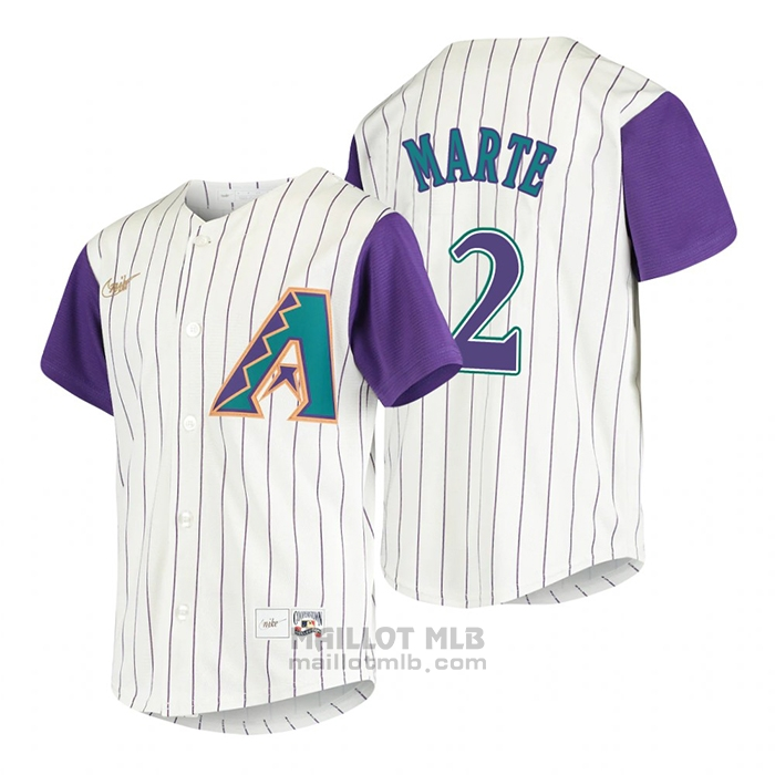 Maillot Baseball Enfant Arizona Diamondbacks Starling Marte Cooperstown Collection Alterner Creme