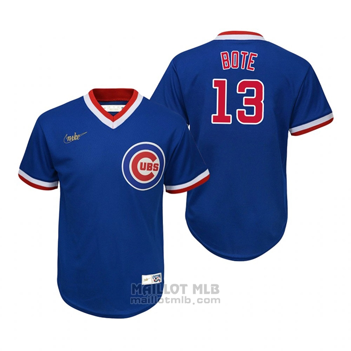 Maillot Baseball Enfant Chicago Cubs David Bote Cooperstown Collection Road Bleu