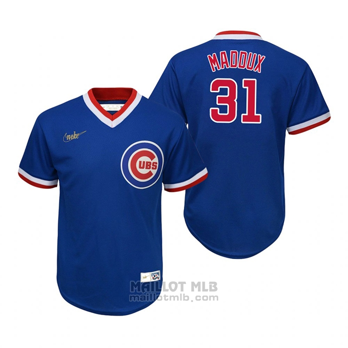 Maillot Baseball Enfant Chicago Cubs Greg Maddux Cooperstown Collection Road Bleu