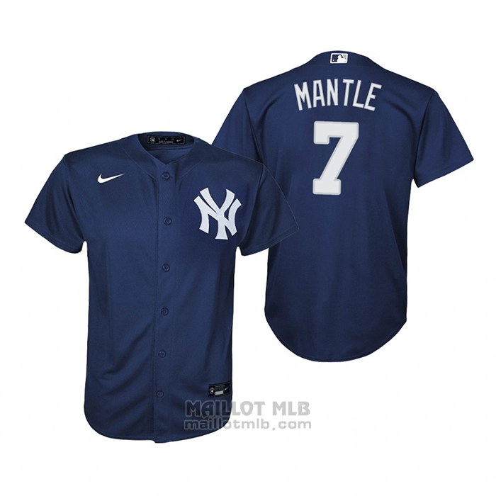 Maillot Baseball Enfant New York Yankees Mickey Mantle Replique Alterner Bleu