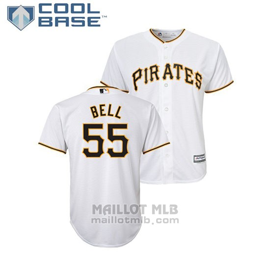 Maillot Baseball Enfant Pittsburgh Pirates Josh Bell Cool Base Majestic Domicile Blanc