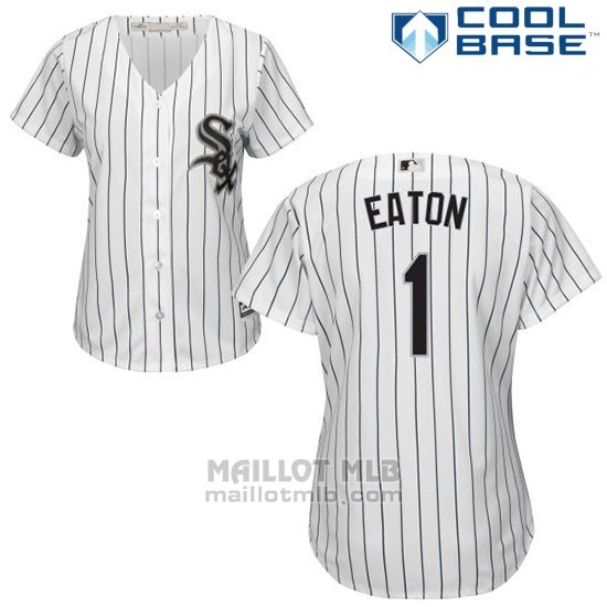 Maillot Baseball Femme Chicago White Sox 1 Adam Eaton Blanc Authentique Coleccion Cool Base