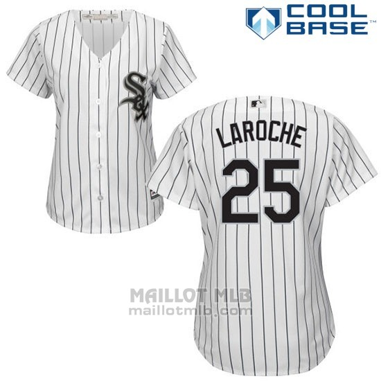 Maillot Baseball Femme Chicago White Sox 25 Adam Laroche Wilson Ramos Blanc Authentique Coleccion Cool Base