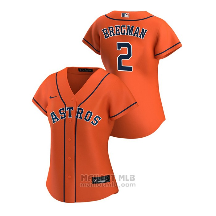 Maillot Baseball Femme Houston Astros Alex Bregman 2020 Replique Alterner Orange