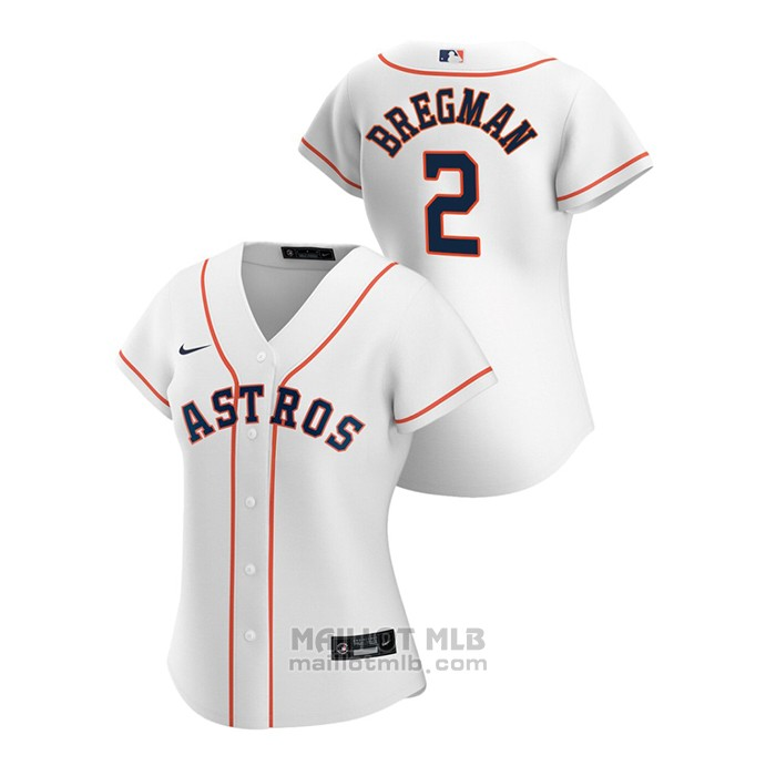 Maillot Baseball Femme Houston Astros Alex Bregman 2020 Replique Primera Blanc