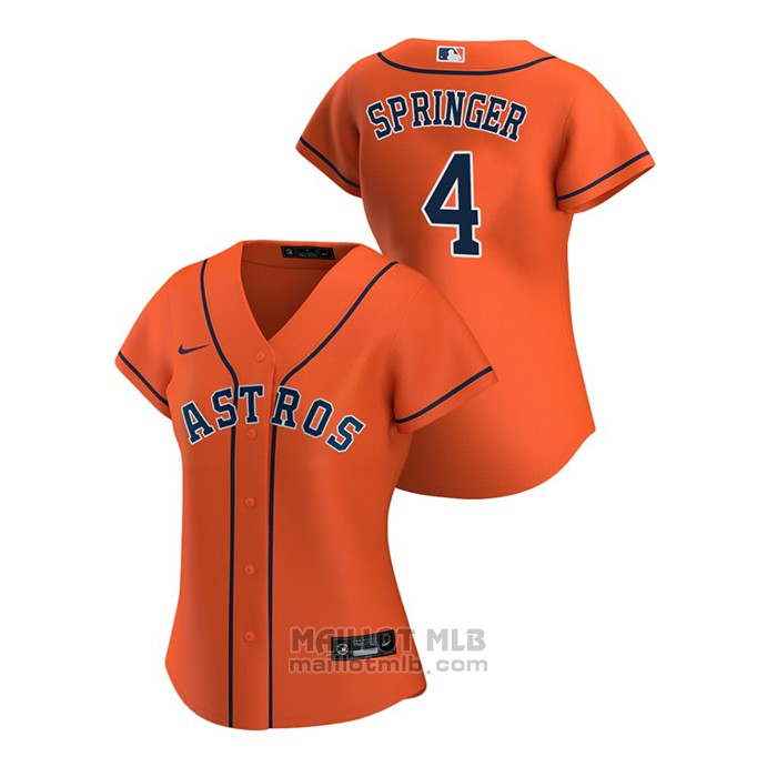 Maillot Baseball Femme Houston Astros George Springer 2020 Replique Alterner Orange