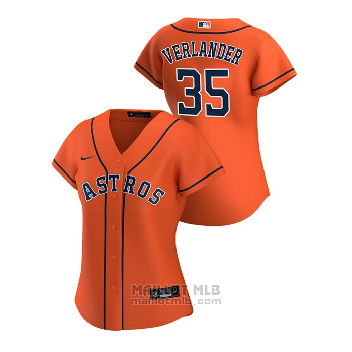 Maillot Baseball Femme Houston Astros Justin Verlander 2020 Replique Alterner Orange