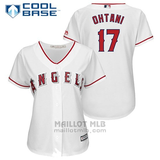 Maillot Baseball Femme Los Angeles Angels 17 Shohei Ohtani Blancplayer Cool Base