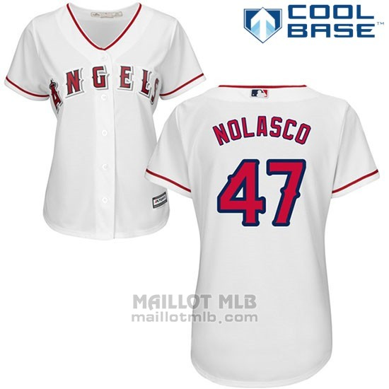 Maillot Baseball Femme Los Angeles Angels 47 Ricky Nolasco Blanc Cool Base