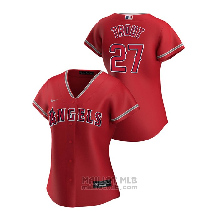 Maillot Baseball Femme Los Angeles Angels Mike Trout 2020 Replique Alterner Rouge