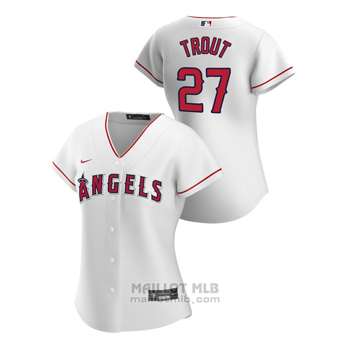 Maillot Baseball Femme Los Angeles Angels Mike Trout 2020 Replique Primera Blanc