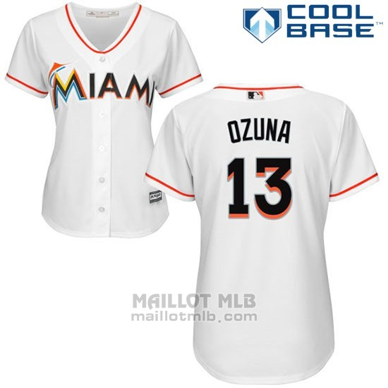 Maillot Baseball Femme Miami Marlins 13 Marcell Ozuna Blanc Authentique Coleccion Cool Base