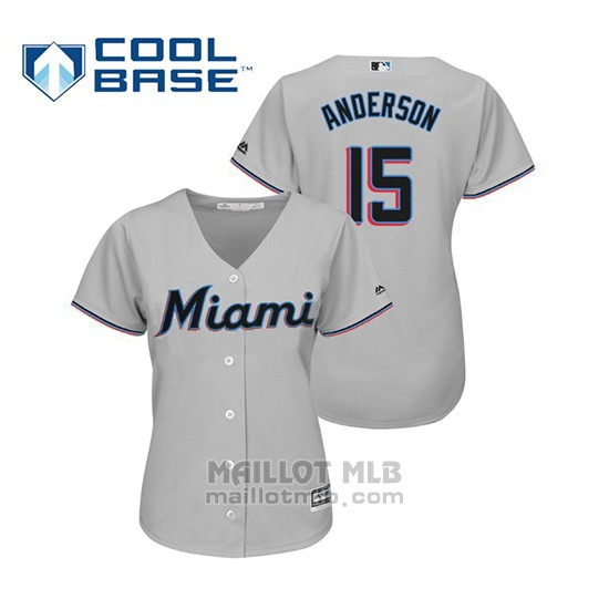 Maillot Baseball Femme Miami Marlins Brian Anderson Cool Base Majestic Road 2019 Gris