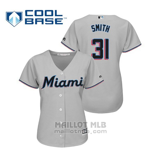 Maillot Baseball Femme Miami Marlins Caleb Smith Cool Base Majestic Road 2019 Gris