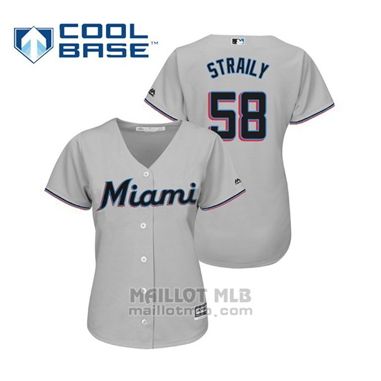 Maillot Baseball Femme Miami Marlins Dan Straily Cool Base Majestic Road 2019 Gris