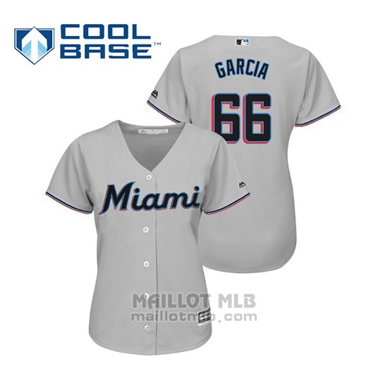 Maillot Baseball Femme Miami Marlins Jarlin Garcia Cool Base Majestic Road 2019 Gris