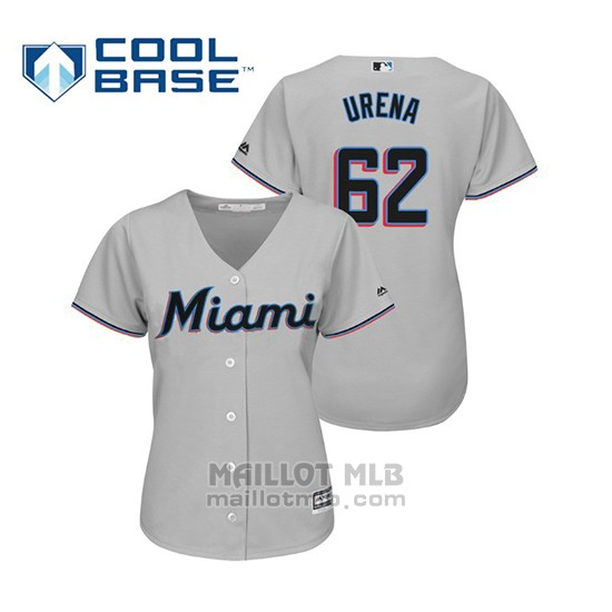 Maillot Baseball Femme Miami Marlins Jose Urena Cool Base Majestic Road 2019 Gris