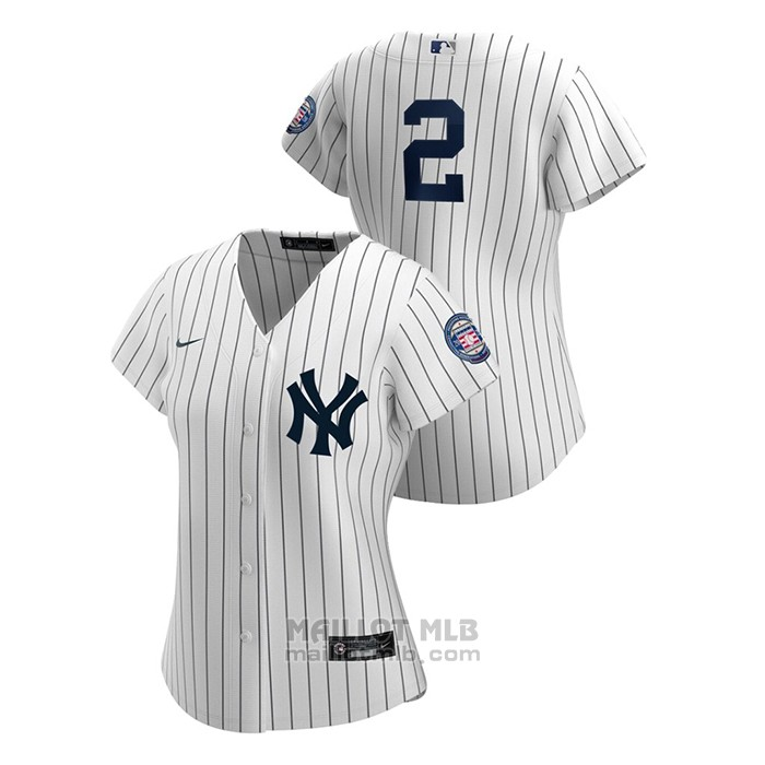 Maillot Baseball Femme New York Yankees Derek Jeter 2020 Hall Of Fame Induction Replique Blanc