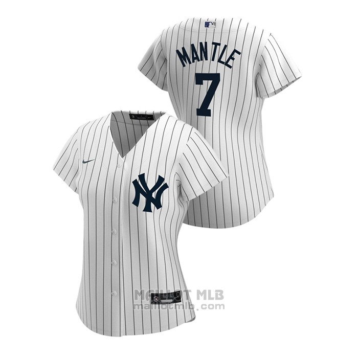 Maillot Baseball Femme New York Yankees Mickey Mantle 2020 Replique Primera Blanc