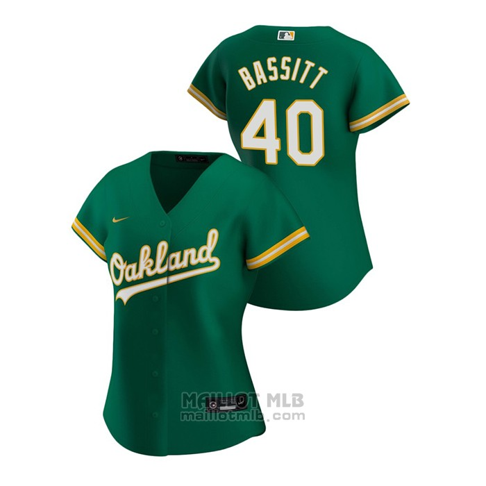 Maillot Baseball Femme Oakland Athletics Chris Bassitt 2020 Replique Alterner Vert