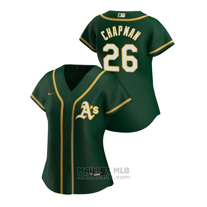 Maillot Baseball Femme Oakland Athletics Matt Chapman 2020 Replique Alterner Vert