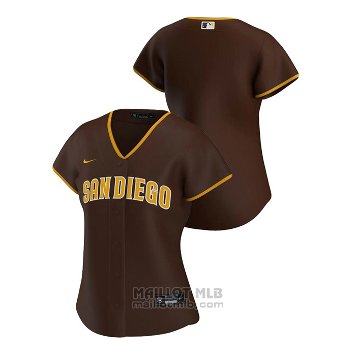 Maillot Baseball Femme San Diego Padres Replique 2020 Road Marron