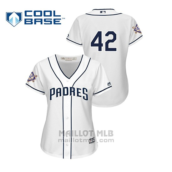 Maillot Baseball Femme San Diego Padres 2019 Jackie Robinson Day Cool Base Blanc
