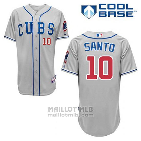 Maillot Baseball Homme Chicago Cubs 10 Ron Santo Gris Alterner Cool Base