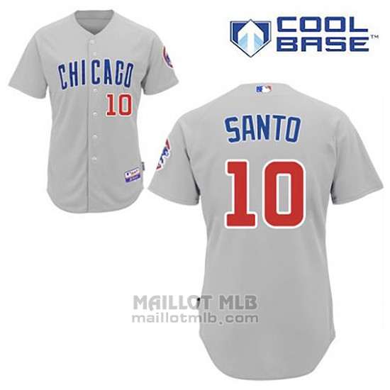 Maillot Baseball Homme Chicago Cubs 10 Ron Santo Gris Cool Base