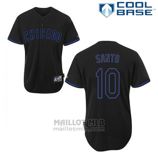Maillot Baseball Homme Chicago Cubs 10 Ron Santo Noir Fashion Cool Base