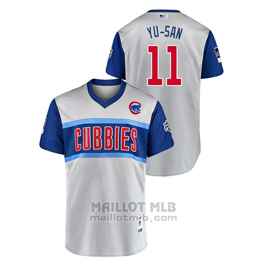 Maillot Baseball Homme Chicago Cubs 11 Yu Darvish 2019 Little League Classic Yu San Replica Gris