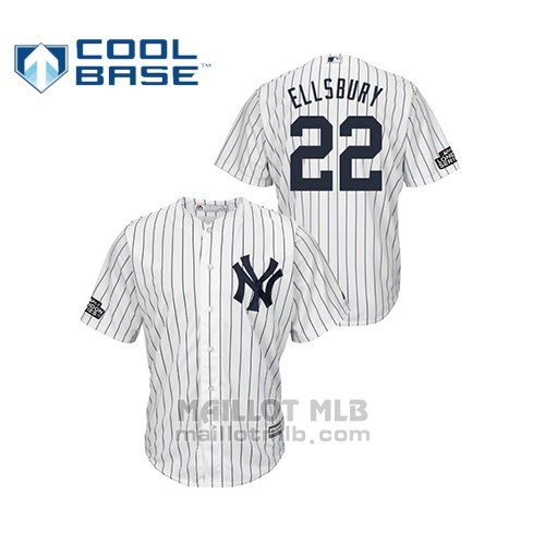 Maillot Baseball Hombre New York Yankees 22 Jacoby Ellsbury 2019 London Series Cool Base Blanc