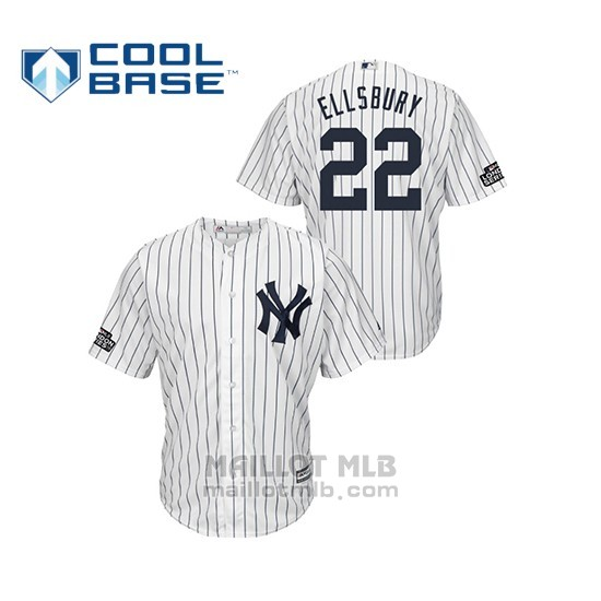 Maillot Baseball Hombre New York Yankees 22 Jacoby Ellsbury Cool Base 2019 London Series Blanc