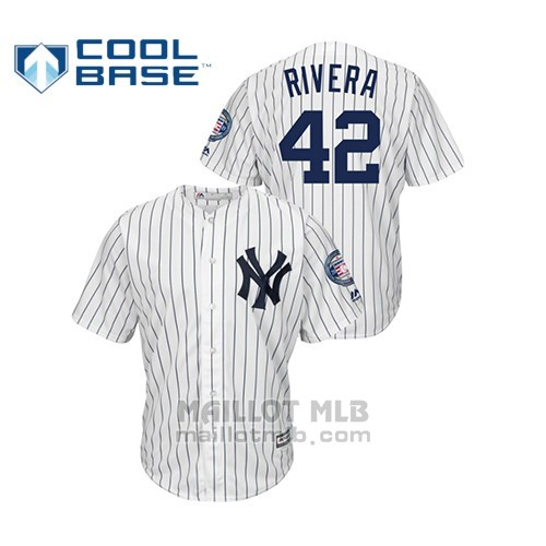 Maillot Baseball Hombre New York Yankees 42 Mariano Rivera 2019 Hall Of Fame Induction Majestic Cool Base Blanc