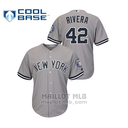 Maillot Baseball Hombre New York Yankees 42 Mariano Rivera 2019 Hall Of Fame Induction Road Cool Base Gris